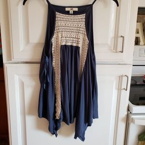 Navy blue flowy tank with cream lace